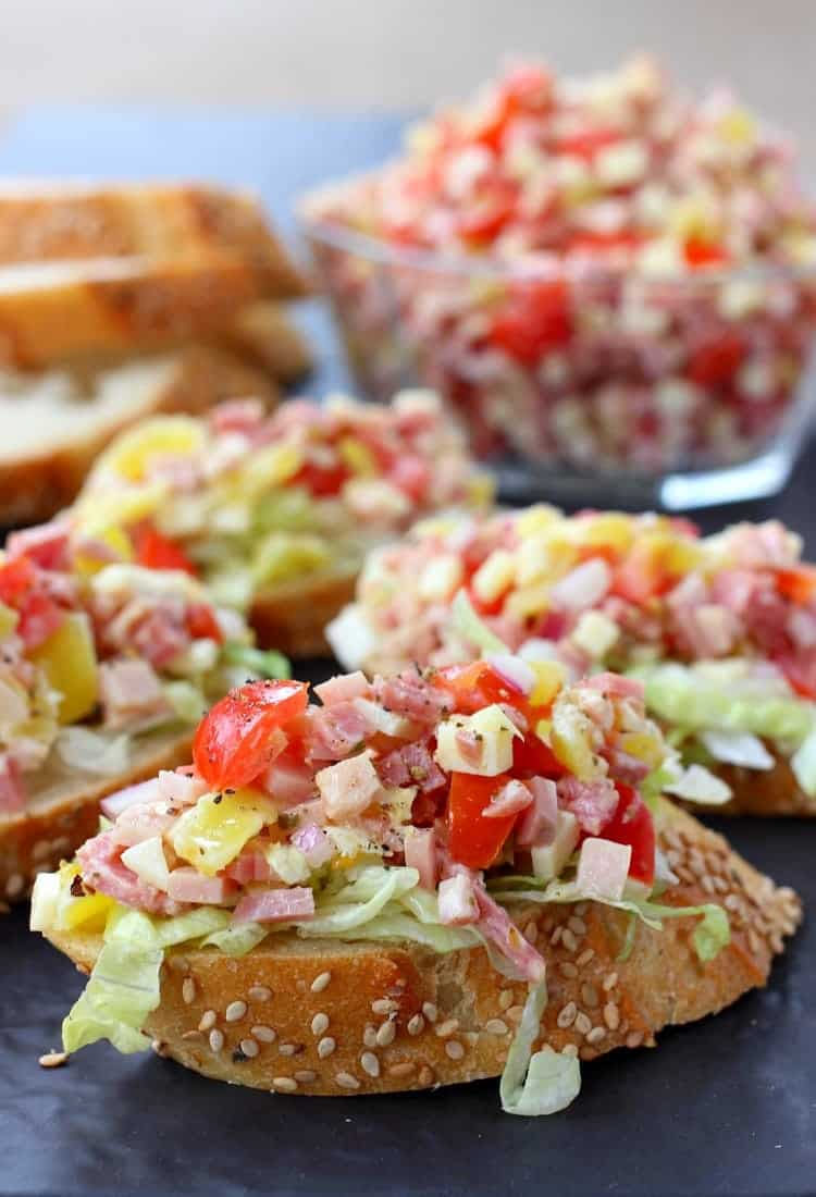 Make Italian Sub Bruschetta for appetizers or even a fun dinner!