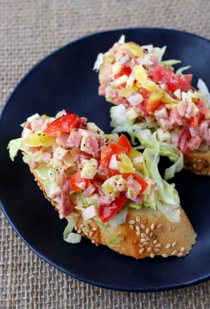 Italian Sub Bruschetta has all the flavors of your favorite sub sandwich!