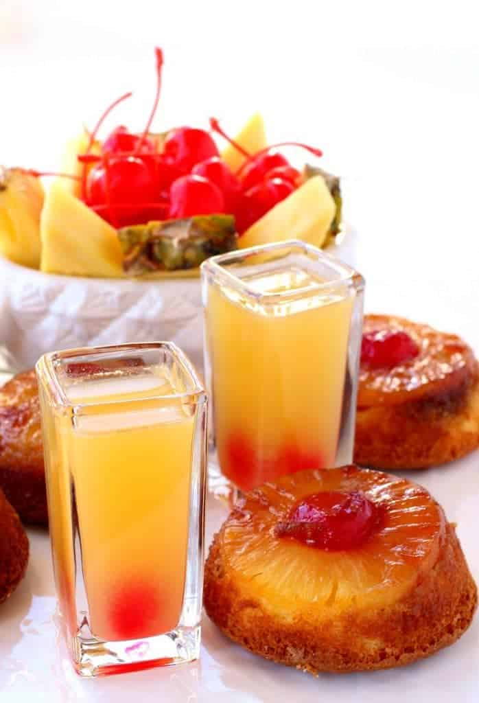 Try these Pineapple Upside Down Shots at your next party!