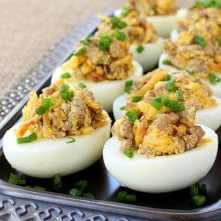 Sausage and Hash Brown Deviled Eggs