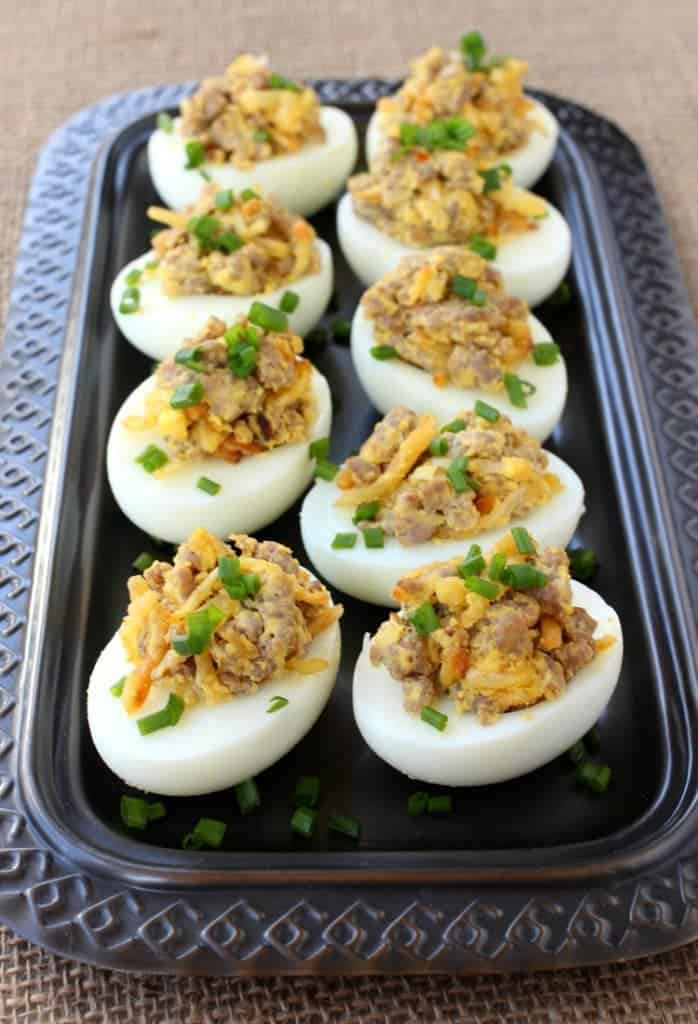 Sausage and Has Brown Deviled Eggs are the ultimate Game Day watching appetizer!