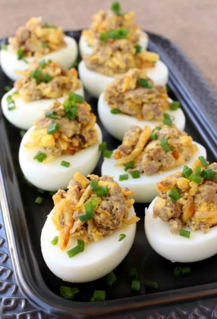 Sausage and Hash Brown Deviled Eggs are loaded with sausage and crispy potatoes!