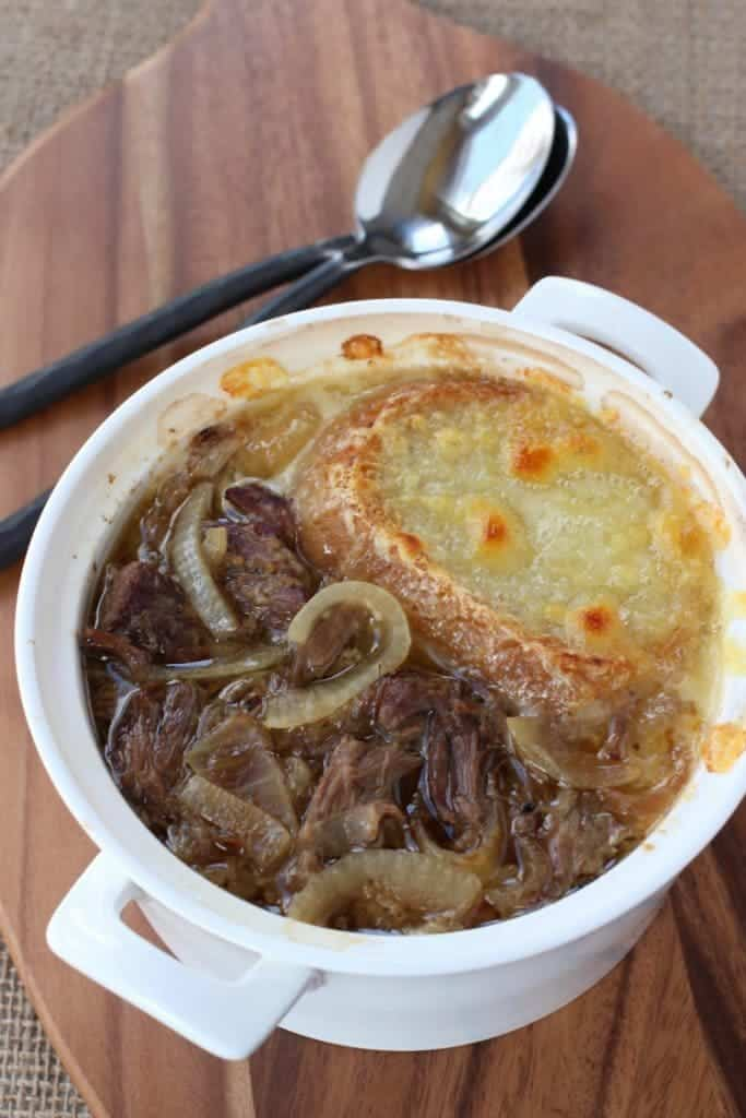 Slow Cooker Beefy French Onion Soup is comfort food in a bowl!