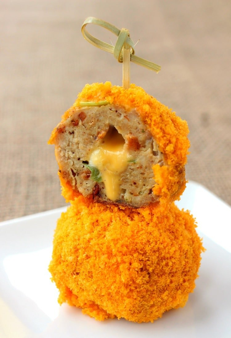 Make these Stuffed Cheese Doodle Meatballs for your next party!