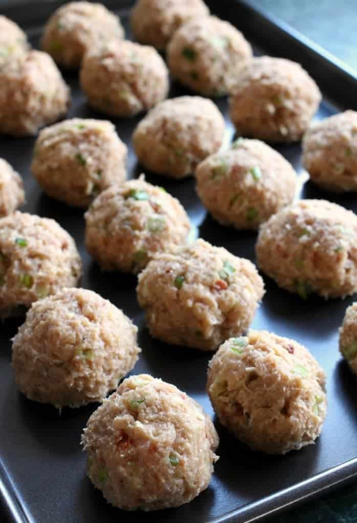 Cheese Doodle Chicken Meatballs on baking sheet