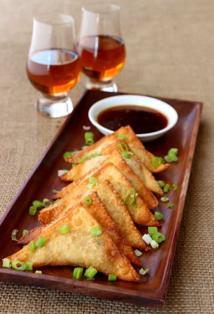 Whiskey Glazed Fried Dumplings are an addictive party appetizer!