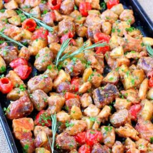 Sheet Pan Chicken Murphy has sausage, chicken, potatoes and peppers tossed in a kicked up brown gravy!