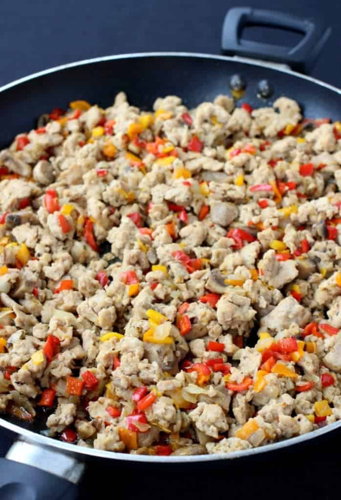 Chicken Philly Cheesesteak Casserole filling