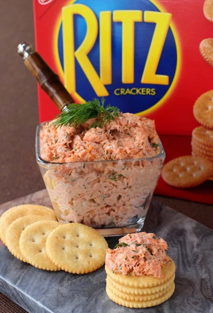 Easy Salmon Cracker Spread goes perfectly on top of a buttery, RITZ Cracker!