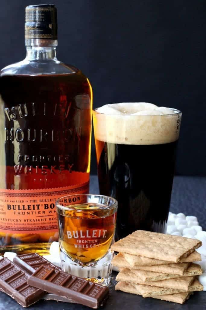 S'mores Porter Boilermaker with crackers and chocolate