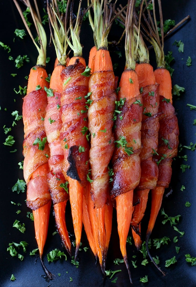 Bacon Wrapped Maple Glazed Carrots are going to be the side dish star for the Holidays!
