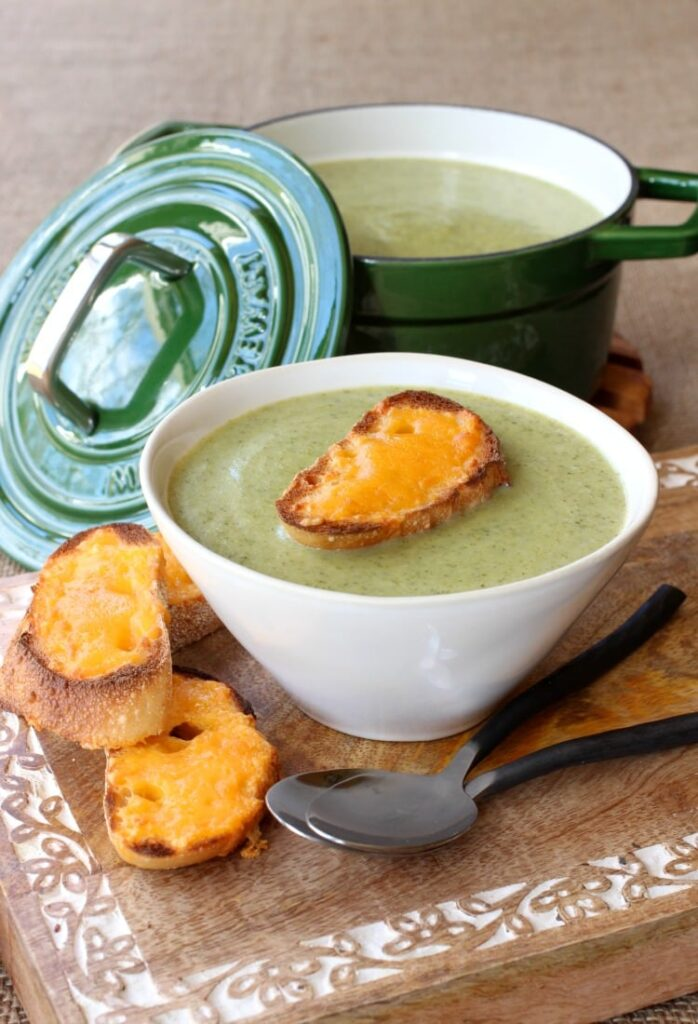 This Broccoli Soup with Cheddar Toasts is one of our favorite dinner recipes!