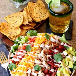 This Chopped Chicken Taco Salad is a fun family style dinner!