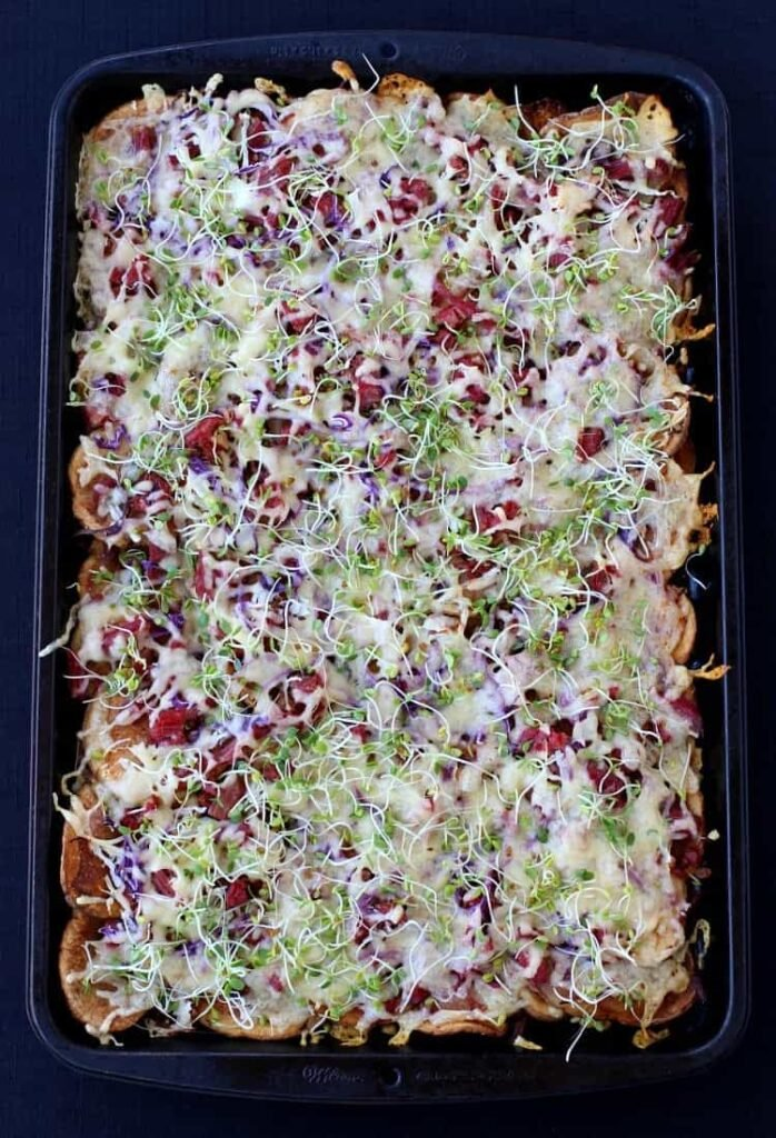 Corned Beef Irish Nachos are a leftover corned beef recipe you can serve for appetizers or dinner
