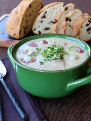 Creamy Potato and Corned Beef Chowder transforms your leftovers into an easy dinner!