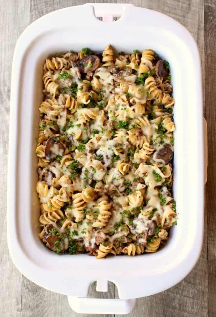 Add a layer of mozzarella to this Slow Cooker Cheesy Beef Stroganoff!