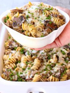 Slow Cooker Cheesy Beef Stroganoff is one of our favorite comfort food dinners!