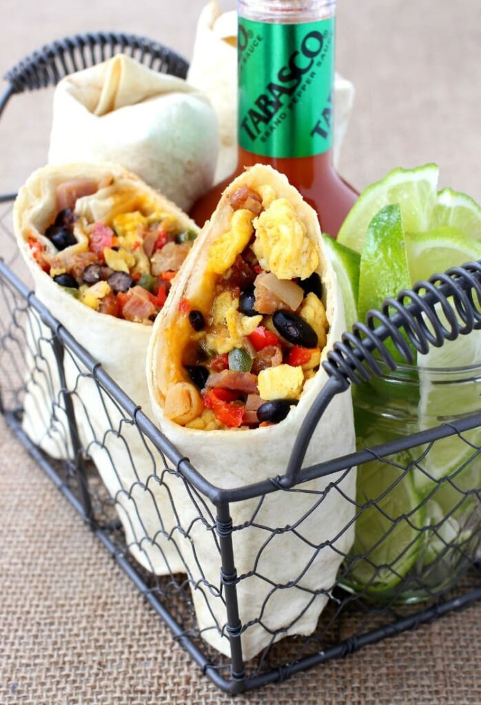 These Southwester Breakfast Burritos can be made ahead and frozen for an easy morning meal!