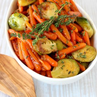 Whiskey Glazed Baby Carrots and Brussels