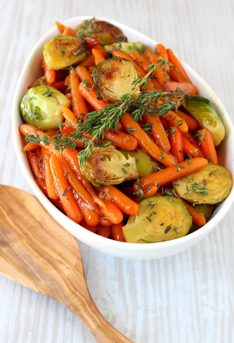 Whiskey Glazed Baby Carrots and Brussels will be the side dish star at your holiday table!