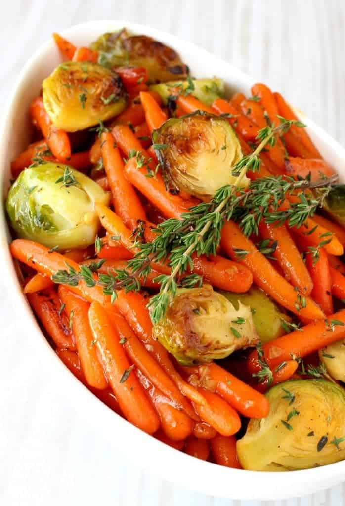 Whiskey Glazed Baby Carrots and Brussels is an easy, make ahead side dish for the Holidays!