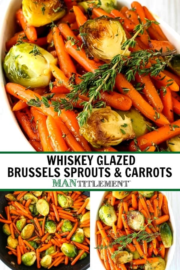 whiskey glazed carrots and brussels sprouts collage for pinterest