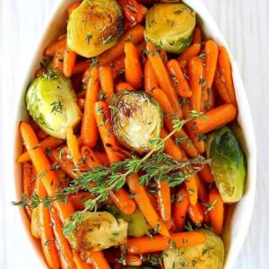 Whiskey Glazed Brussels Sprouts and Carrots