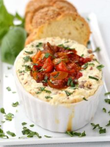 Baked Ricotta with Sausage and Tomato Jam is a hearty appetizer or a light dinner!