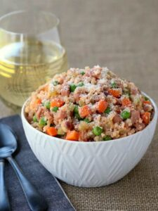 Low Carb Cauliflower Rice Ham Risotto is low carb eating at it's best!