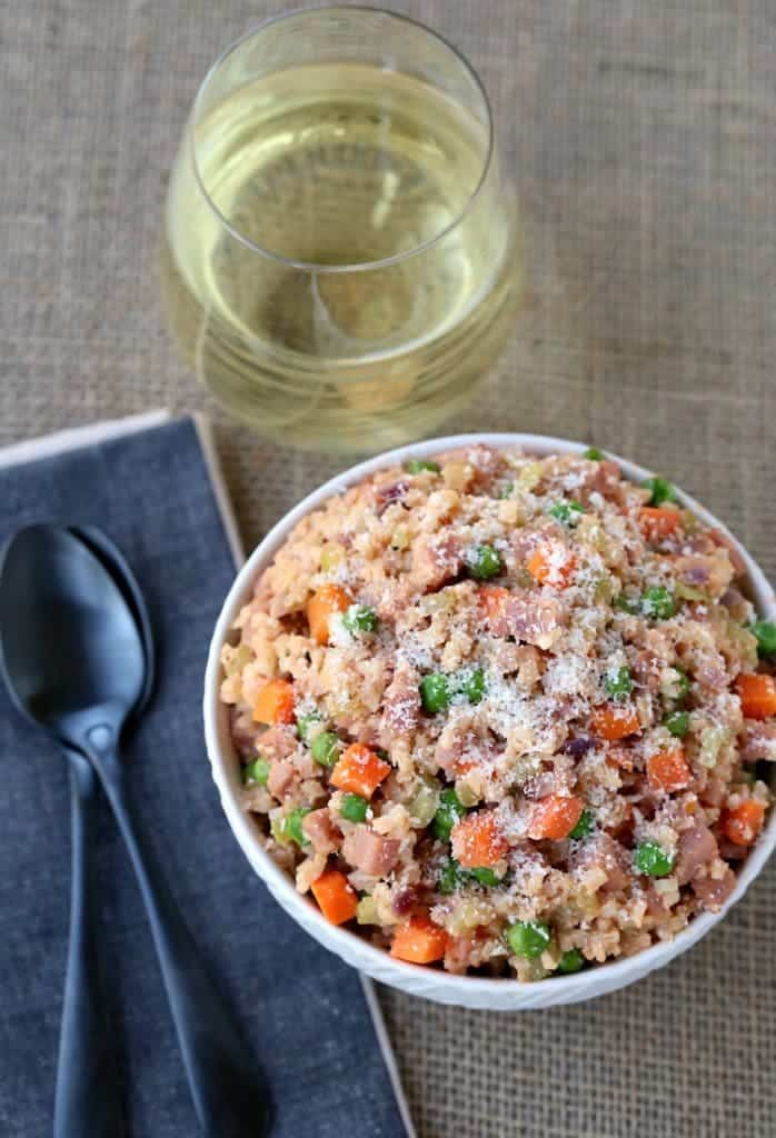 This Low Carb Cauliflower Rice Ham Risotto is perfect for your leftover ham!