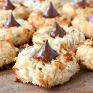 Must Make Easter Desserts with a picture of coconut cookies