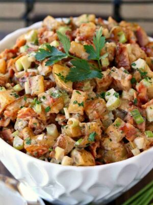 Oven Roasted Barbecue Potato Salad will be the side dish that everyone will ask you to bring!