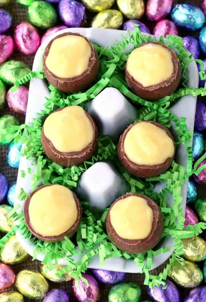 RumChata Chocolate Egg Pudding Shots with chocolate eggs