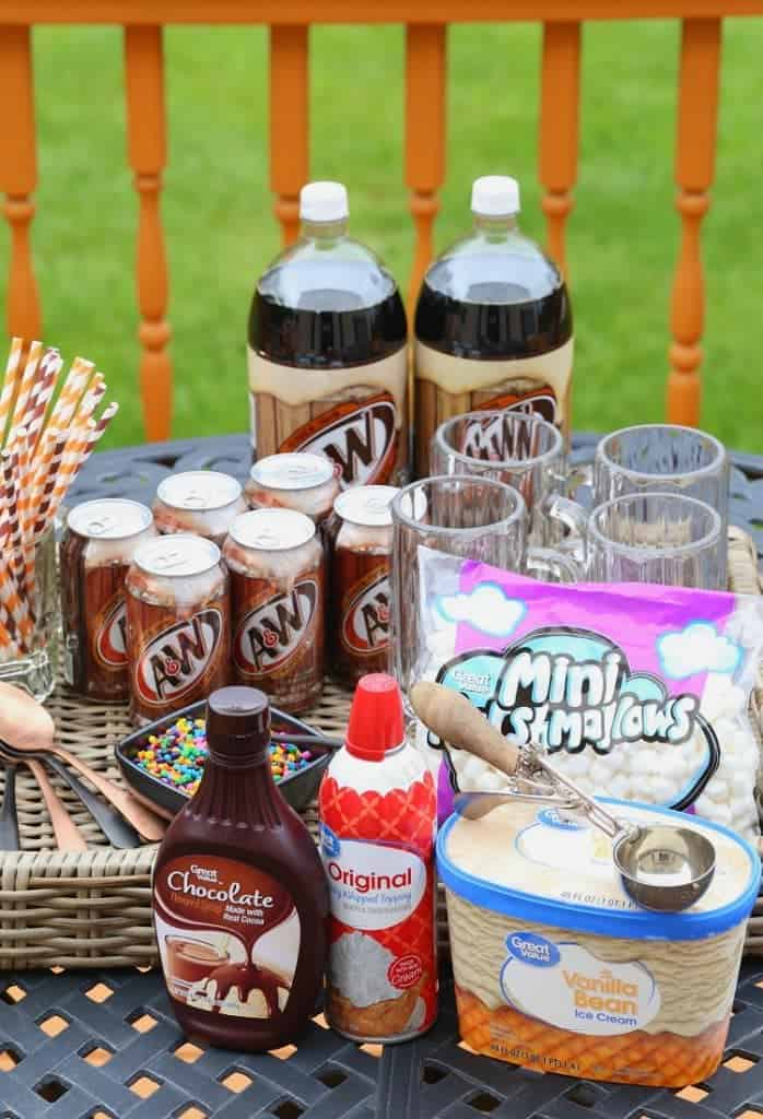 Root beer float bar for a birthday
