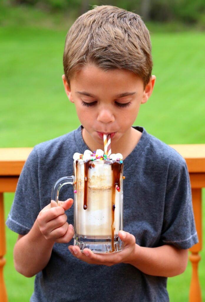 Evan sipping birthday root beer float