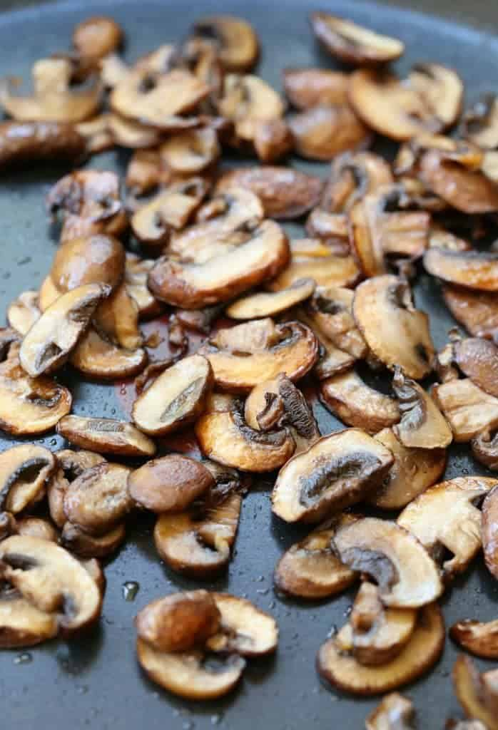 Chicken Marsala Alfredo starts with browning the mushrooms