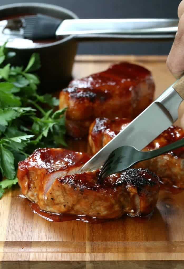 Cider Brined Pork Chops with Brown Sugar BBQ Sauce is a pork chop recipe for an easy dinner