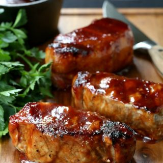 Cider Brined Pork Chops with Brown Sugar Applewood BBQ Sauce