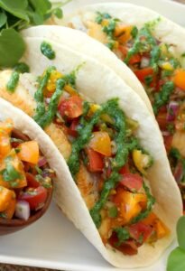 Fish Tacos with Tomato Salsa and Fresh Watercress Sauce