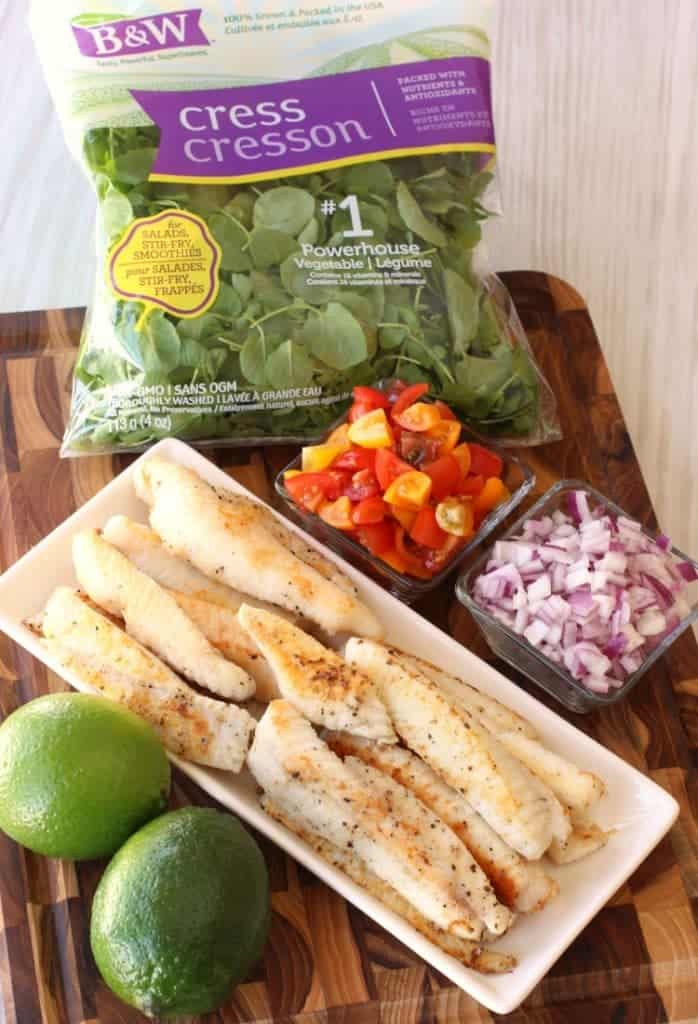 Fish Tacos with Tomato Salsa and Fresh Watercress Sauce ingredients