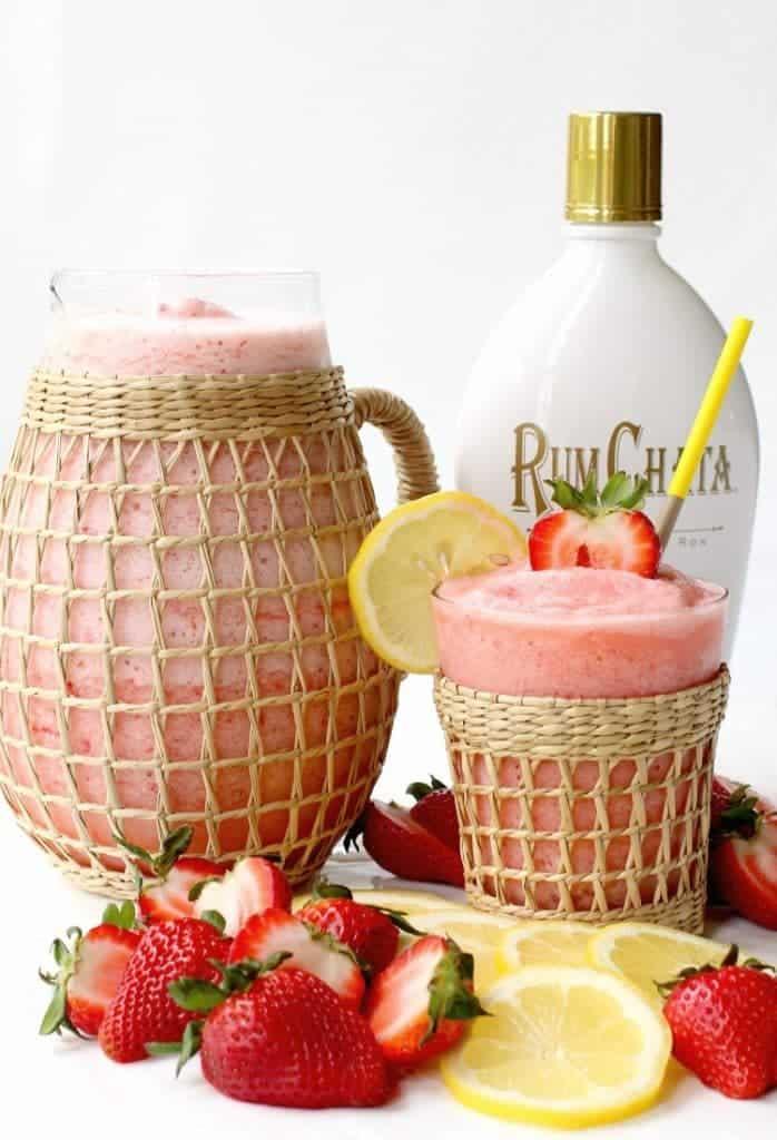 This Frozen RumChata Strawberry Lemonade is bursting with fresh fruit flavor!