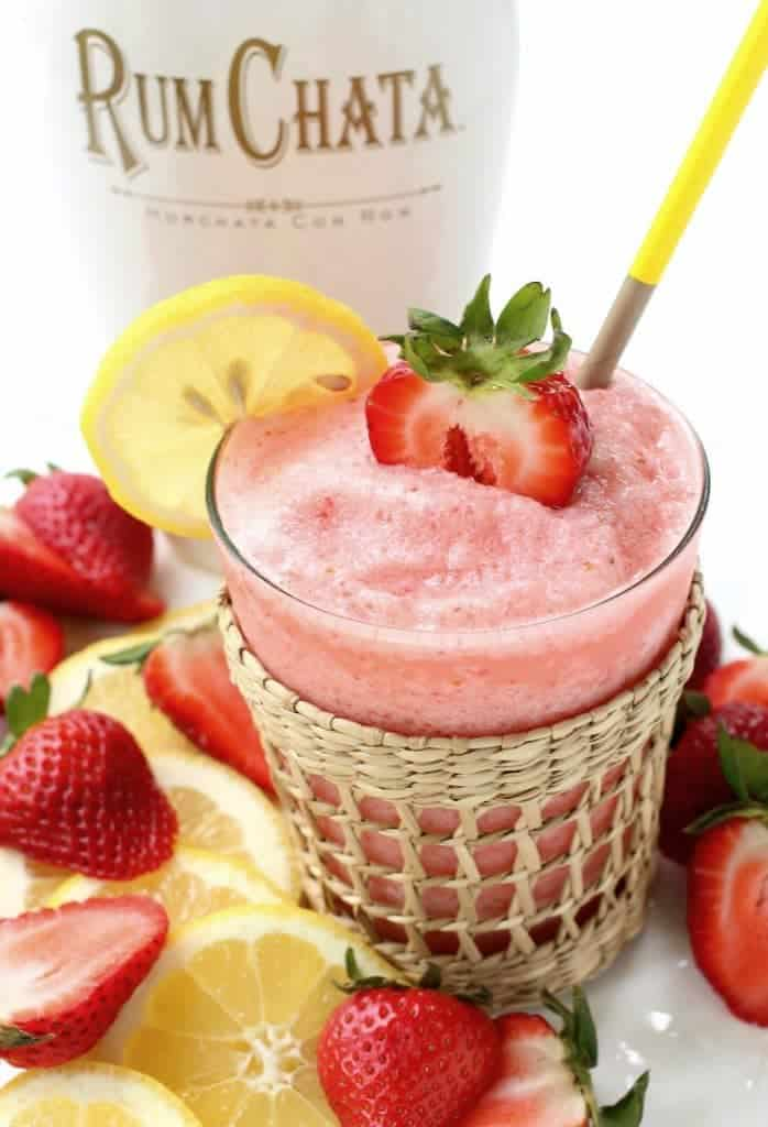 This Frozen RumChata Strawberry Lemonade is delicious and refreshing!