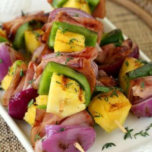 Hawaiian Ham Kabobs can be made in minutes for a tasty and fast dinner!