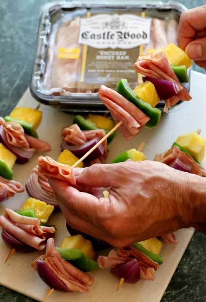 Hawaiian Ham Kabobs process