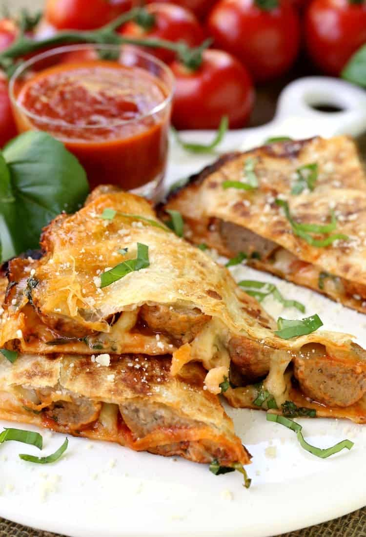 Meatball Pizza Quesadillas are an easy appetizer or dinner recipe