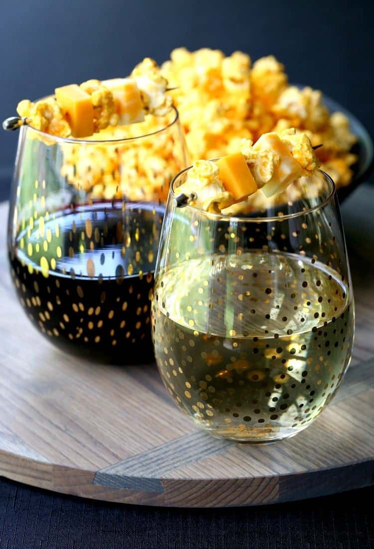 Try these Popcorn and Cheese Wine Garnish at your next cocktail party!