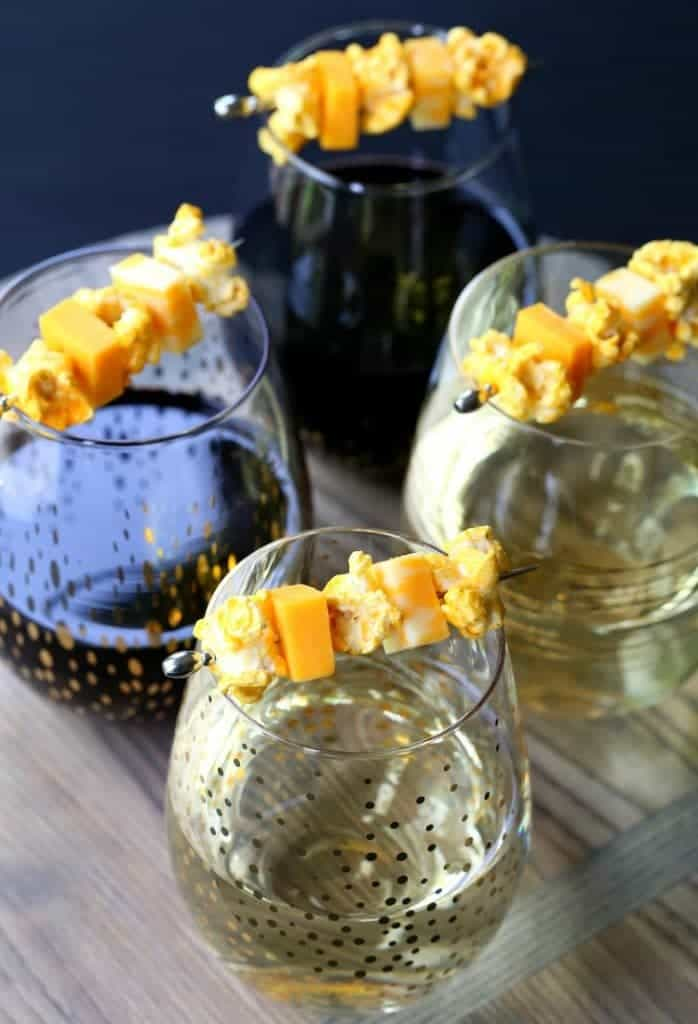 Popcorn and Cheese Wine Kabobs are the perfect snack with your wine!