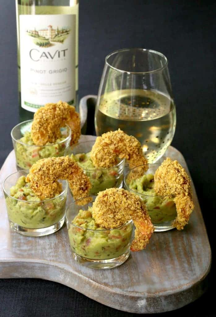 Tortilla Crusted Taco Shrimp for appetizers and a glass of wine!