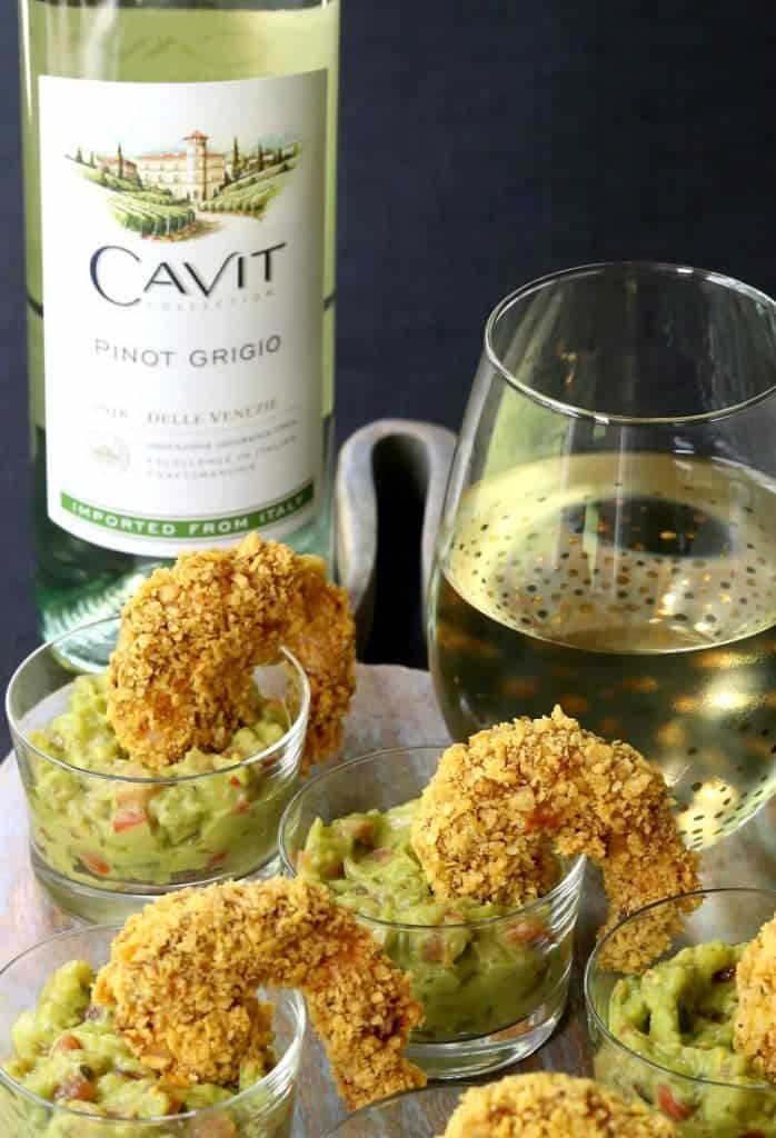 These Tortilla Crusted Taco Shrimp go perfectly with a glass of wine!