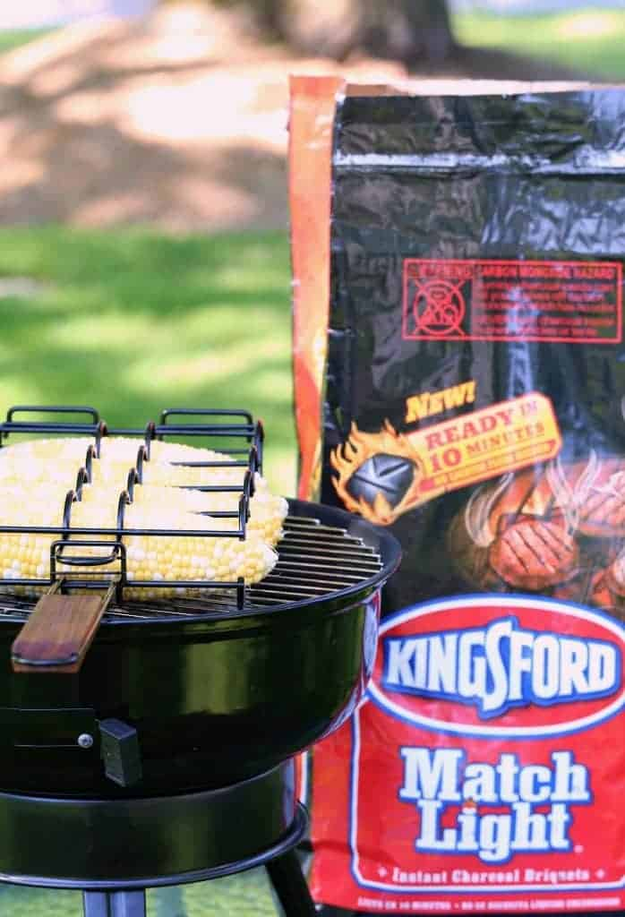 Grilled Italian Street Corn on the grill with Kingsford Charcoal